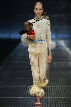 Prada SS17 - Chinese Pyjama with embrodery and feathers details Runway  Fashion d5308f4d5b8ce