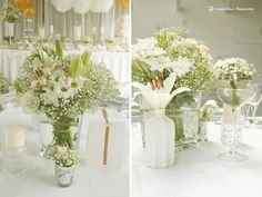 Flowers in the seating table for this white and gold glamour baptism party