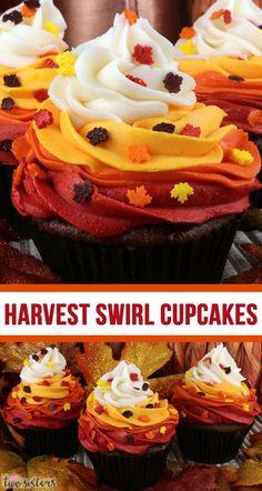Thanksgiving Cupcakes, Thanksgiving Food, Thanksgiving Prayer, Swirl Cupcakes, Yummy Cupcakes, Cupcakes Fall, Ladybug Cupcakes, Kitty Cupcakes, Snowman Cupcakes