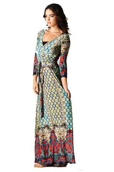 On Pattern Women's Paris Bohemian three/4 Sleeve Long Maxi Gown