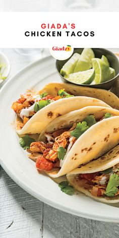 These chicken tacos are a weeknight must. I often use leftover grilled chicken or rotisserie chicken to speed things up even more, but if you are starting from scratch, it's still super quick and simple. Make a platter with toppings, such as sour cream, Mexican crema, chopped tomatoes, finely chopped lettuce or cabbage, onions, cilantro, and fresh lime wedges to garnish, and let your kids build their own, as they are more likely to try new things this way. Giada Recipes, Oven Recipes, Meat Recipes, Gourmet Recipes, Mexican Food Recipes, Chicken Recipes, Chicken Tacos, Grilled Chicken, Cinco De Mayo