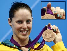 Even Women of Olympic Swimming are sporting their nail art in the 2012 London Games. #AliciaCoutts, Australia. - DIY nail art designs.