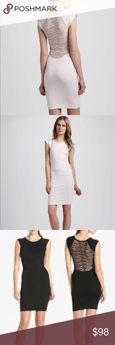 French Connection Blush Pink Lace Back Dress NWOT NWOT French Connection blush pink lace back dress. Sleek and form-fitting but demure in the front-- with a secret and sophisticated, sexy back. French Connection Dresses
