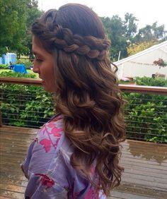 Braided hair down wedding hairstyle.