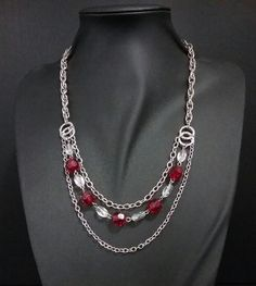 Red bead and silver chains by IV Creations Silver Chains, Layered Chains, Jewelry Design, Beads, Beading, Bead, Pearls, Seed Beads, Silver Necklaces