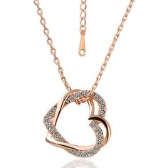 7.99AUD - 18K Rose Gold Filled Women's Heart Pendant Necklace With Austria Crystal #ebay #Fashion