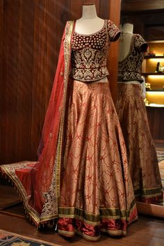Tarun Tahiliani Orange & Maroon Embroidered #Lehenga.