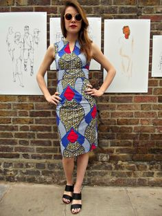 Retro Fitted mid length Beautiful Dress in Pure Cotton on Afro deco Blue and Red  Print by LoudandProudLondon on Etsy