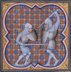 Combat of Roland and the giant Ferragut. Illuminated miniature from Grandes Chroniques de France, c1375-1380 (BnF Français 2813, fol. 118)