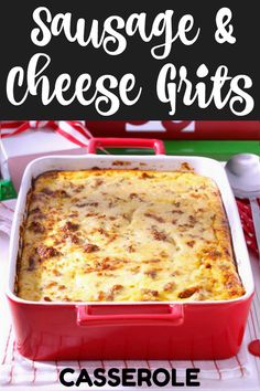 Cheesy grits and pork sausage cook up a Southern version of the breakfast casserole recipe perfect for overnight guests and brunch! Vegetarian Breakfast, Sausage Breakfast, Breakfast Bake, Best Breakfast, Paleo Cereal, Make Ahead Breakfast Burritos, Frozen Breakfast, Christmas Breakfast, Macaroni And Cheese