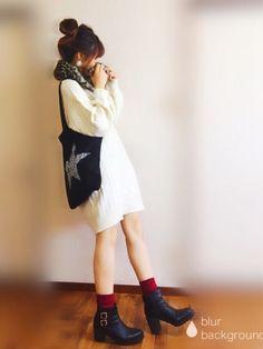 こんばんは! 本日のコーデです。 少し前に載せたニットワンピの色違い❤️ お色はアイボリーです! ブ Casual Outfits, Cute Outfits, Fashion Outfits, Womens Fashion, Spring Summer Fashion, Autumn Winter Fashion, Kawaii Fashion, Korean Fashion, One Piece