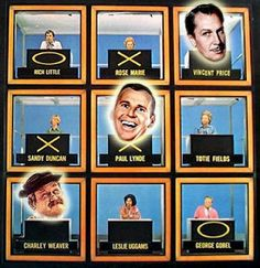 "Hollywood Squares.....Hollywood Squares.....The squares were occupied by various celebreties, the five most regulars being Cliff Arquette (in his ""Charley Weaver"" comic persona), Wally Cox, Rose Marie, Morey Amsterdam, and Abby Dalton.  Peter Marshall hosted for 15 years."