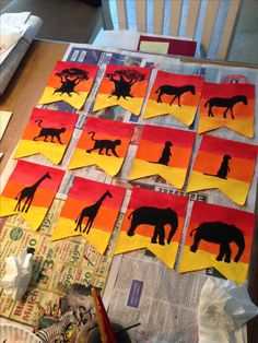 African animals sunset banner. Made with supplies from Michaels craft store.