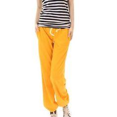 Allegra K Woman Elastic Waist Seam Pockets Hip Hop Sport Pants Yellow S Allegra K. $8.28