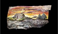 Lake Cabin - Original Mixed-media painting by Jack A. Birch Bark, Charcoal Drawing, Mixed Media Painting, Limited Edition Prints, Cabin, Paintings, Fine Art, Texture, Art Prints