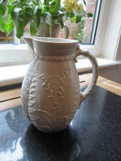 Pretty Antique Victorian Parian Jug Lilly Of the Valley Ferns Lozenge Mark Base | eBay