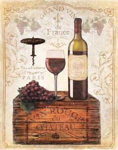 Crated Wine Collage II by Marie Elaine Cusson Wine Label Art, Wine Wall Decor, Wine Painting, Wine Signs, Cafe Art, Decoupage Vintage, Vintage Typography, Wine And Beer, Wine And Spirits