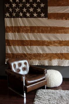 Large Earth Toned American Flag