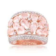 Hope you're ready to be wined and dined with this beautifully detailed openwork setting that adds an airy, romantic touch to this rose quartz dome ring. Rose Quartz Dome Ring With Diamonds, Item no. 777946. >Shop Rose Quartz Jewelry #RossSimons