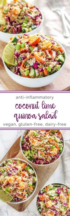 Nutritious Snack Tips For Equally Young Ones And Adults Coconut Lime Quinoa Salad Anti-Inflammatory, Vegan, Gluten-Free Eat Spin Run Repeat Lime Quinoa Salad, Quinoa Salat, Healthy Quinoa Recipes, Healthy Salads, Edamame Salad, Healthy Food, Vegetarian Salad Recipes, Farro Salad, Pasta Salad