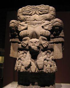 """The Goddess Coatlicue - Mexico. Aztec. c. 1500. Basalt, height 8'6"""" Museo Nacional de Antropologia, Mexico City."""