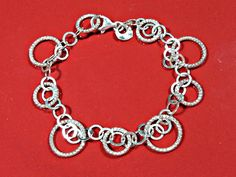 Silver Bracelet Chain Sterling Circles in Multiple Sizes Signed 925 Italy Comfortable Lightweight Sparkling Textured Circles Smooth Feel #JulesBaublesandMore #SterlingChain #Signed925Italy #WristChainSilver #BraceletChain #SilverCircles #MultipleSizes #SterlingWristChain #SilverBracelet #ChainOfCircles #MilorItaly #LightweightChain #LobsterClasp #ItalianSilver