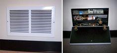 air vent safe Hide Your Valuable Stuff with Air Vent Secret Compartment Secret Hiding Places, Hiding Spots, Hidden Places, Secret Space, Secret Rooms, Secret Box, Gun Storage, Hidden Storage, Secret Storage