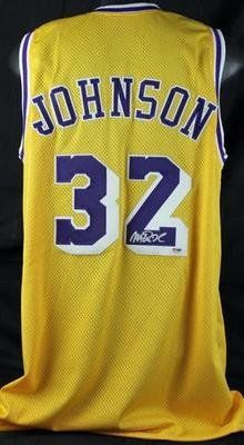 c092cd2550fe Magic Johnson La Lakers Action Hand Signed Jersey Psa Authentic -  Autographed NBA Photos MAGIC JOHNSON LA LAKERS ACTION HAND SIGNED JERSEY  PSA AUTHENTIC