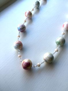 Polymer clay jewelry Multicolor bead necklace by UniquelyArdath