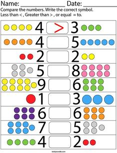 Comparing one-digit numbers Math Worksheet