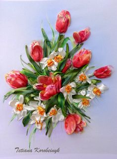 Ricamo  Primavera.  Silk ribbon embroidery di SilkRibbonembroidery