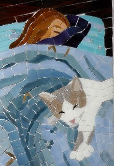 Sleeping cat and cat lady -- a mosaic by Christine Brallier -- I love the POV #cats #mosaics