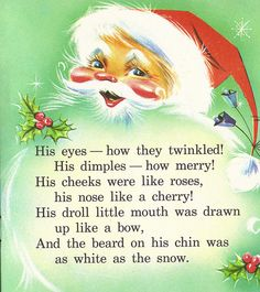 vintage Santa Claus ✳ ☆ from the Night Before Christmas storybook~ illustrations by Carol Munshi ♥ Images Noêl Vintages, Images Vintage, Vintage Christmas Images, Retro Christmas, Vintage Holiday, Vintage Cards, Christmas Scenes, Christmas Past, Christmas Quotes