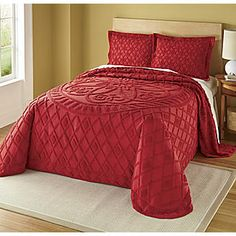 red Bedspread & Sham, Solid Cotton Chenille from Seventh Avenue ®