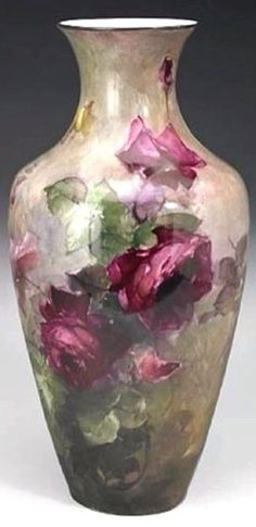 Franz Arthur Bischoff (American, Vase with Red, Pink and Yellow Roses signed 'Franz A. Bischoff (lower center) and marked 'Belleek' on the underside painted porcelain height: 21 Fine Porcelain, Porcelain Ceramics, Painted Porcelain, Porcelain Jewelry, Porcelain Doll, Vases, Urn Vase, Donia, China Painting