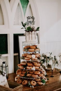 Cake by Sweet Obsession Cakes. Cake by Sweet Obsession Cakes. Doughnut Wedding Cake, Wedding Donuts, Donut Party, Wedding Desserts, Wedding Cake Prices, Floral Wedding Cakes, Wedding Cake Rustic, Wedding Table, Beautiful Wedding Cakes