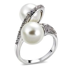 5.87$  Watch more here - DreamCarnival 1989 Super Cute Twisted Cocktail Ring for Women 10 mm Synthetic Pearls Twins Rhodium Color CZ Paved Femmes Anneaux   #magazine