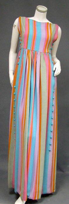 Vintageous, LLC - COLORFUL Striped Crepe 1960's Sarmi Evening Dress, $410.00 (http://www.vintageous.com/colorful-striped-crepe-1960s-sarmi-evening-dress/)