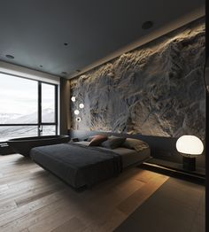 How To Use Lighting And Textures To Add Interest To Dark Interiors Dark decor interiors that feature textured feature walls with modern lighting ideas, including wood slatted wall panels, and rustic stone feature walls. Luxury Bedroom Design, Bedroom Bed Design, Home Room Design, Home Interior Design, Bedroom Decor, Bedroom Ideas, Master Bedroom, Interior Design Examples, Wall Decor