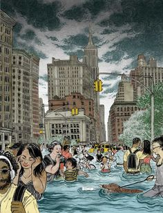 """Under Water by Yuko Shimizu from Mother Jones magazine 2013. """"flood, rebuild, repeat: Why we pretend the next storm won't happen"""""""