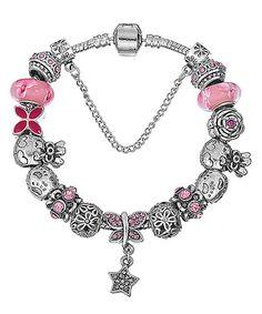 Look at this #zulilyfind! Pink & Silvertone Crystal Star Charm Bracelet #zulilyfinds