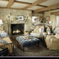 beams, stone fireplace ottoman! light & bright
