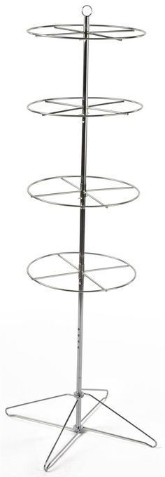 Tiered Floorstanding Display Rack w/ Sign Clip, 4 Round Rotating Levels - Silver