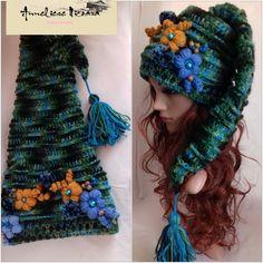 Crochet Beanie, Knitted Hats, Knit Crochet, Hand Knitting, Knitting Patterns, Crochet Patterns, Freeform Crochet, Crochet Stitches, Crochet Christmas Hats