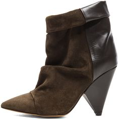 Isabel Marant Andrew Calfskin Velvet Leather Boots ($597) ❤ liked on Polyvore featuring shoes, boots, ankle boots, velvet boots, isabel marant boots, high heel shoes, high heel ankle boots and leather shoes