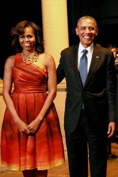 Michelle Obama wearing Naeem Khan at dinner hosted by South African President Jacob Zuma in Pretoria, South Africa June 2013
