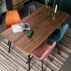 Dutchbone Alagon Wooden Dining Table - x Wooden Dining Table Designs, Dining Table With Bench, Furniture Dining Table, Walnut Dining Table, Wooden Dining Tables, Dining Room Sets, Dining Room Table, Luxury Chairs, Table Centerpieces