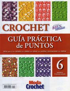 crochet stitch No 6 - designs) Crochet Cord, Crochet Books, Crochet Motif, Crochet Patterns, Knitting Magazine, Crochet Magazine, Crochet Gratis, Free Crochet, Crotchet Stitches