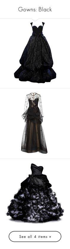 """""""Gowns: Black"""" by franceseattle ❤ liked on Polyvore featuring dresses, gowns, long dresses, black, long dress, peplum dress, long sleeve ball gowns, long sheer dress, long sleeve evening gowns and sheer dress"""