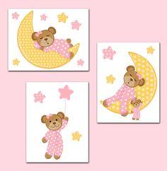 $15 - Pink Teddy Bear Wall Art Prints Or Decals Moon Stars Baby Girl Nursery Stickers #ebay #Home & Garden